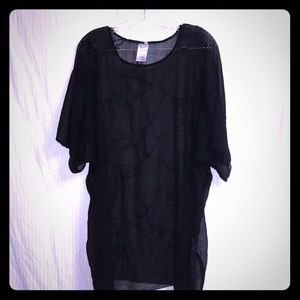 AZTECA SHEER EMBROIDERED BLACK COVERUP